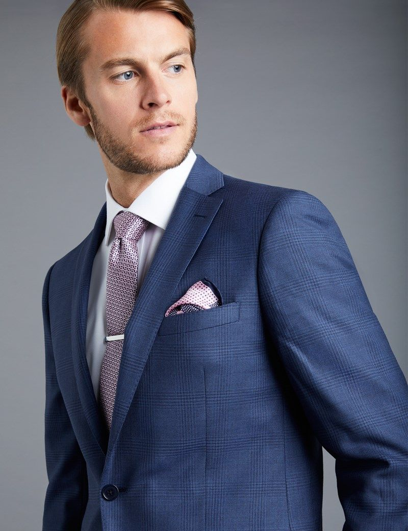 18b2ea0d976b24 Men's Royal Blue Tonal Prince Of Wales Check Extra Slim Fit Suit Jacket |  Hawes and Curtis