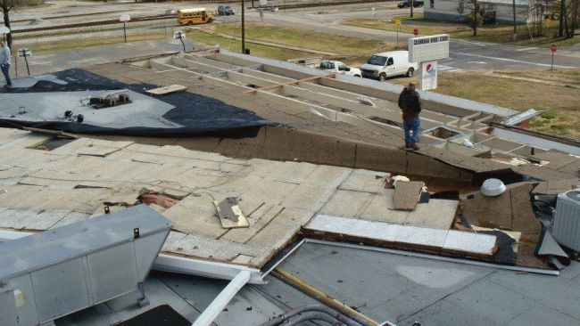 roof damaged by wind