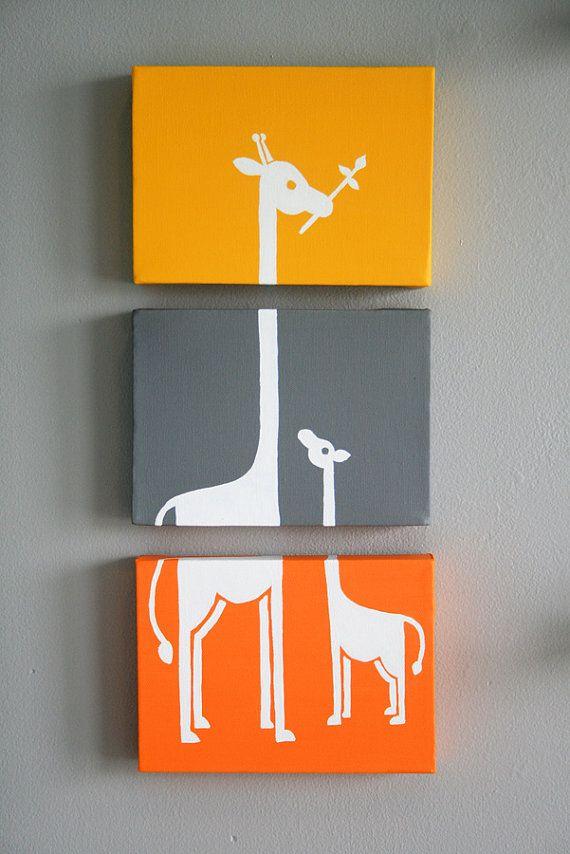 "RESERVED FOR MICHELLE Custom Giraffe Painting Series of 3 (5x7"" panels) | Diy  canvas art, Giraffe painting, Diy canvas"