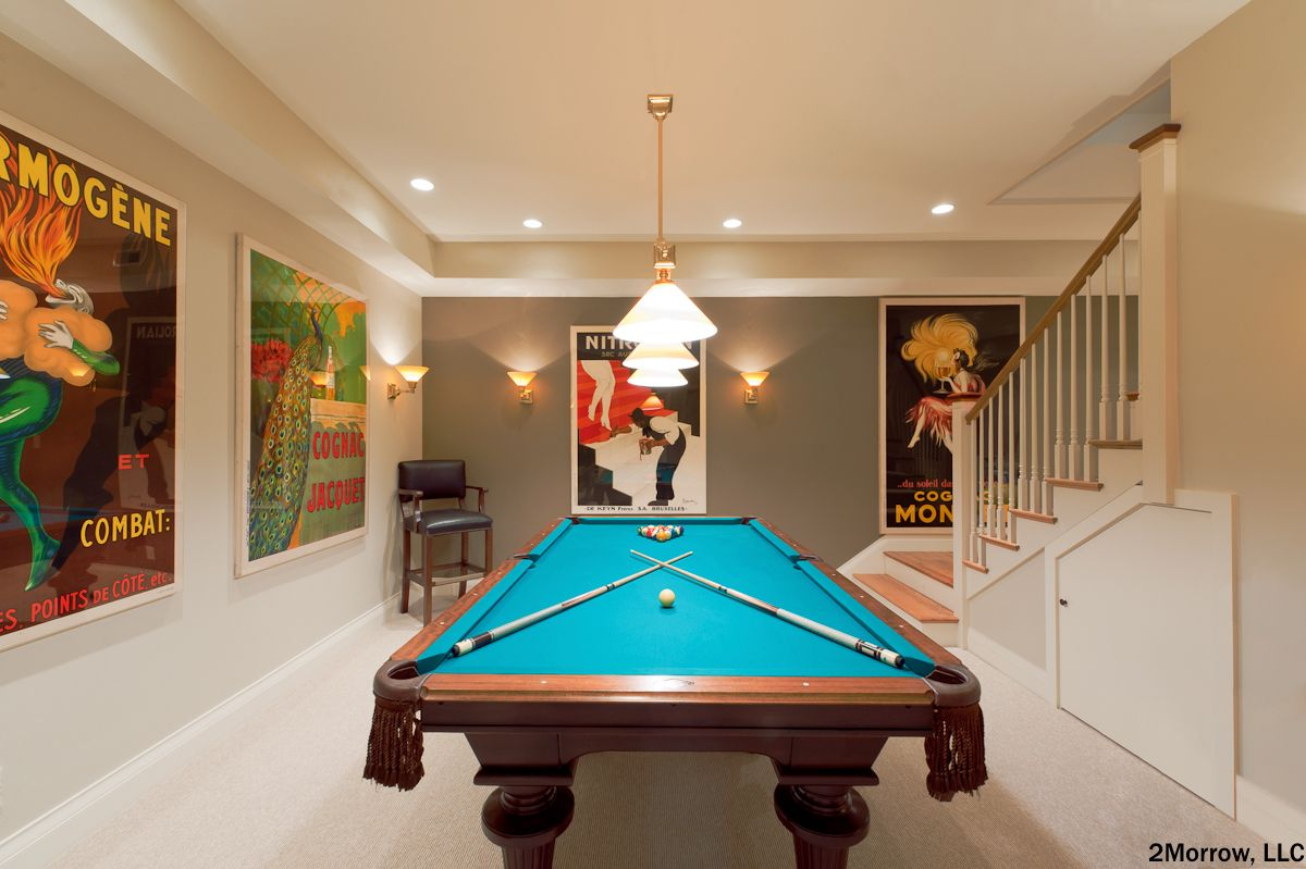 Canned Ceiling Lights Basement Stairs: Contemporary Basement With A Brand New Pool Table