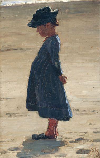 KRØYER, Peder Severin - Little girl Standing on Skagen's Southern Beach (1894) 31.5 x 20.4 cm (oil on panel) (Skagens Museum, Denmark)