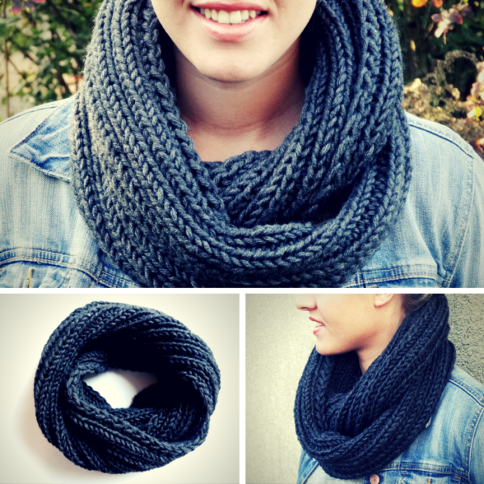 Anleitung: Einfachen grauen Loop-Schal stricken | Crochet ...