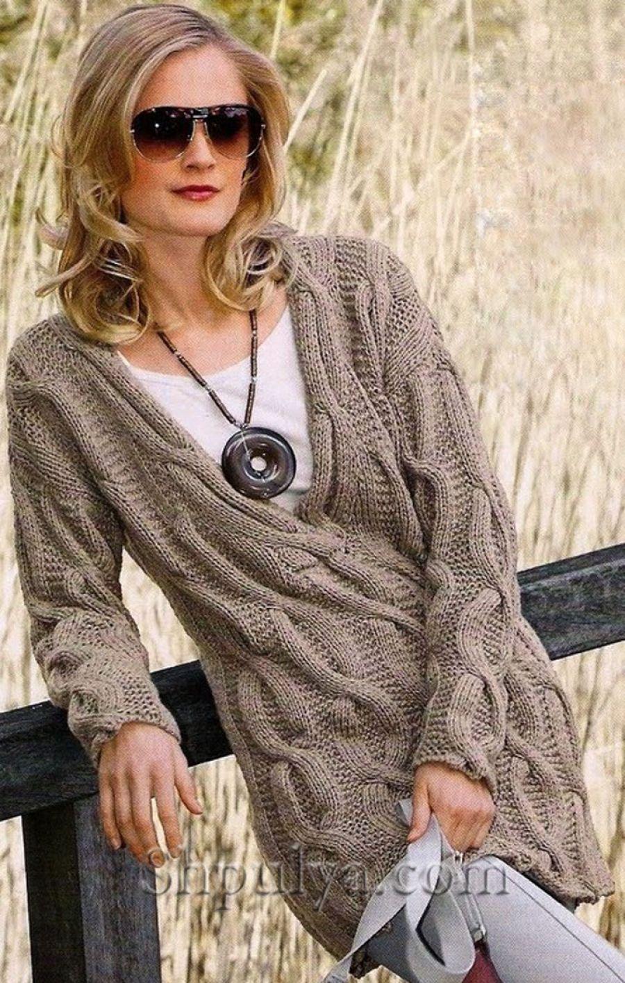 www.SHPULYA.com - Пуловер с v-образным вырезом с косами ...