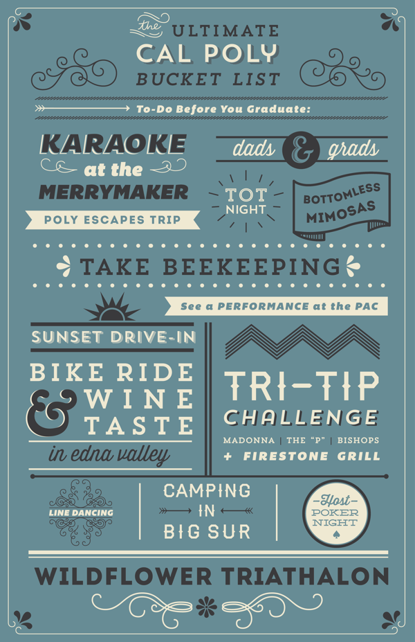 cal poly bucket list by rosie bubb via behance typography
