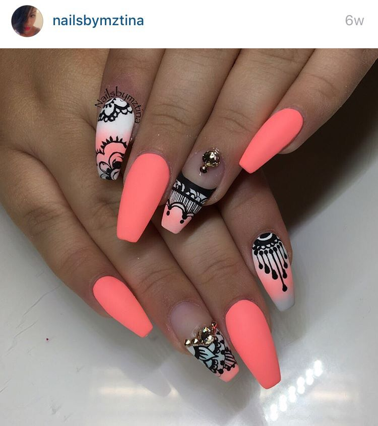 Orange white and black with Henna design coffin nails - Orange White And Black With Henna Design Coffin Nails Nails