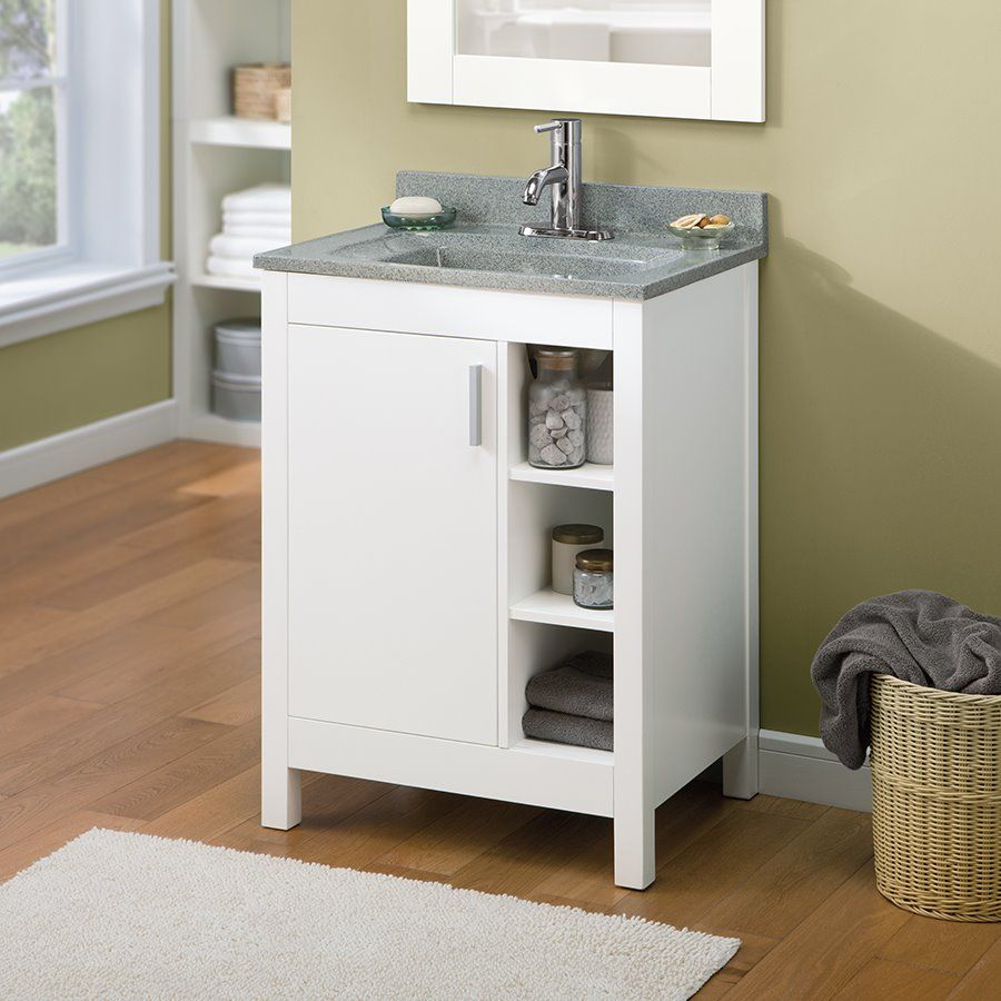 Allen Roth Southbay Cove White Integral Bathroom Vanity with