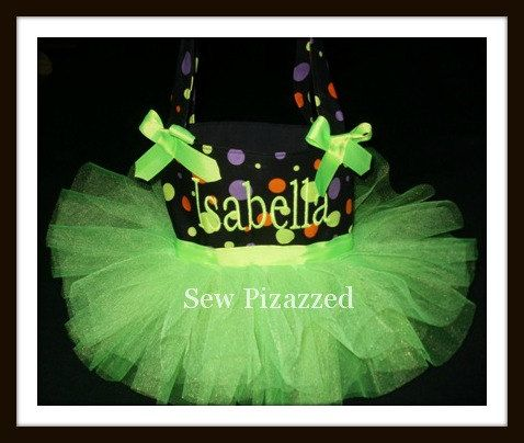Happy Halloween Neon Green Tutu Tote Bag by SewPizazzed on Etsy, $25.99