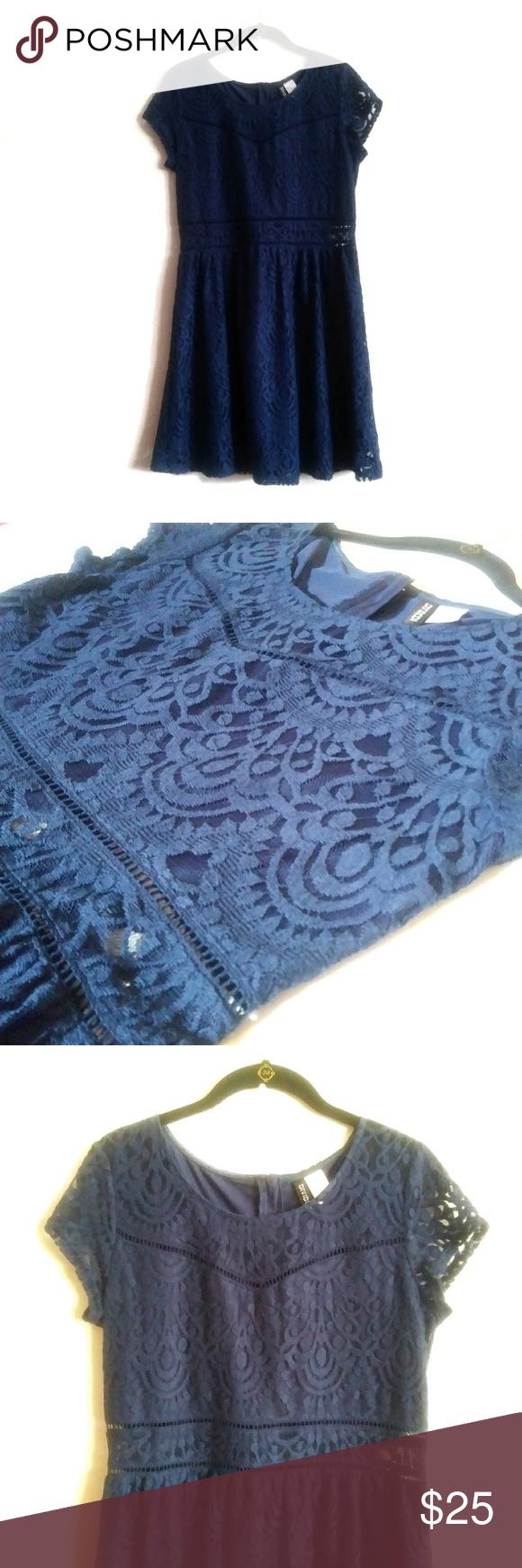H&m blue lace dress  Divided HuM Lace Dress Blue Size  Divided HuM lace dress