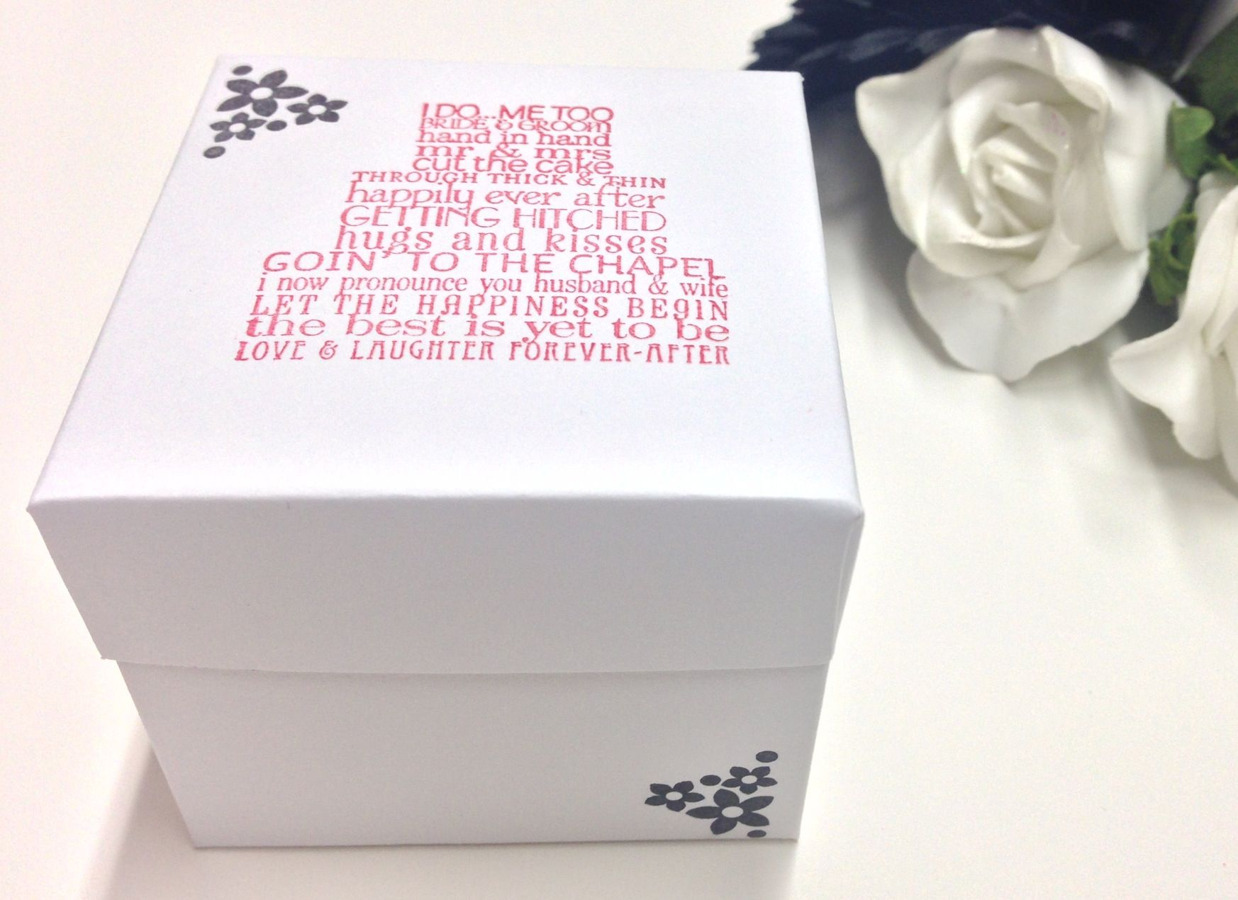 The classic box favour created in white with red & black ...