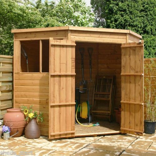 Details about 7x7 Wooden Pent Corner Shed Shiplap & Tongue