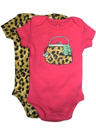 Amazon.com: Baby Starters Baby-girls 2 Pack of Short Sleeve Leopard Print Purse Bodysuits: Baby
