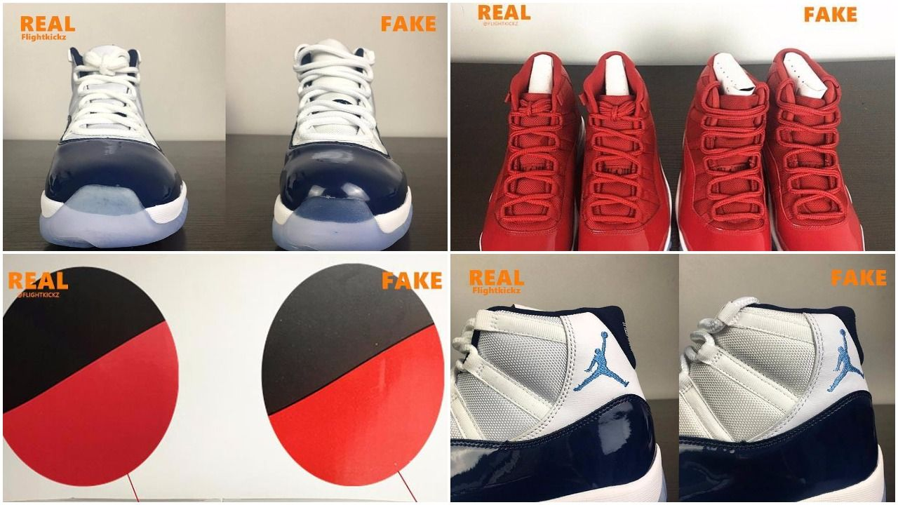 sneakers for cheap c404b 4019a Air Jordan 11 Gym Red & Midnight Navy: Which Is Real Or Fake ...