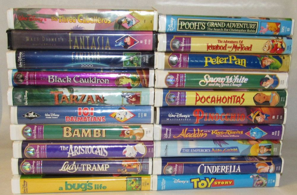 Disney Vhs Lot Of 20 Tapes Animated Masterpiece Cinderella Fantasia Toy Story Kids Family Movies Ebay Family Movies