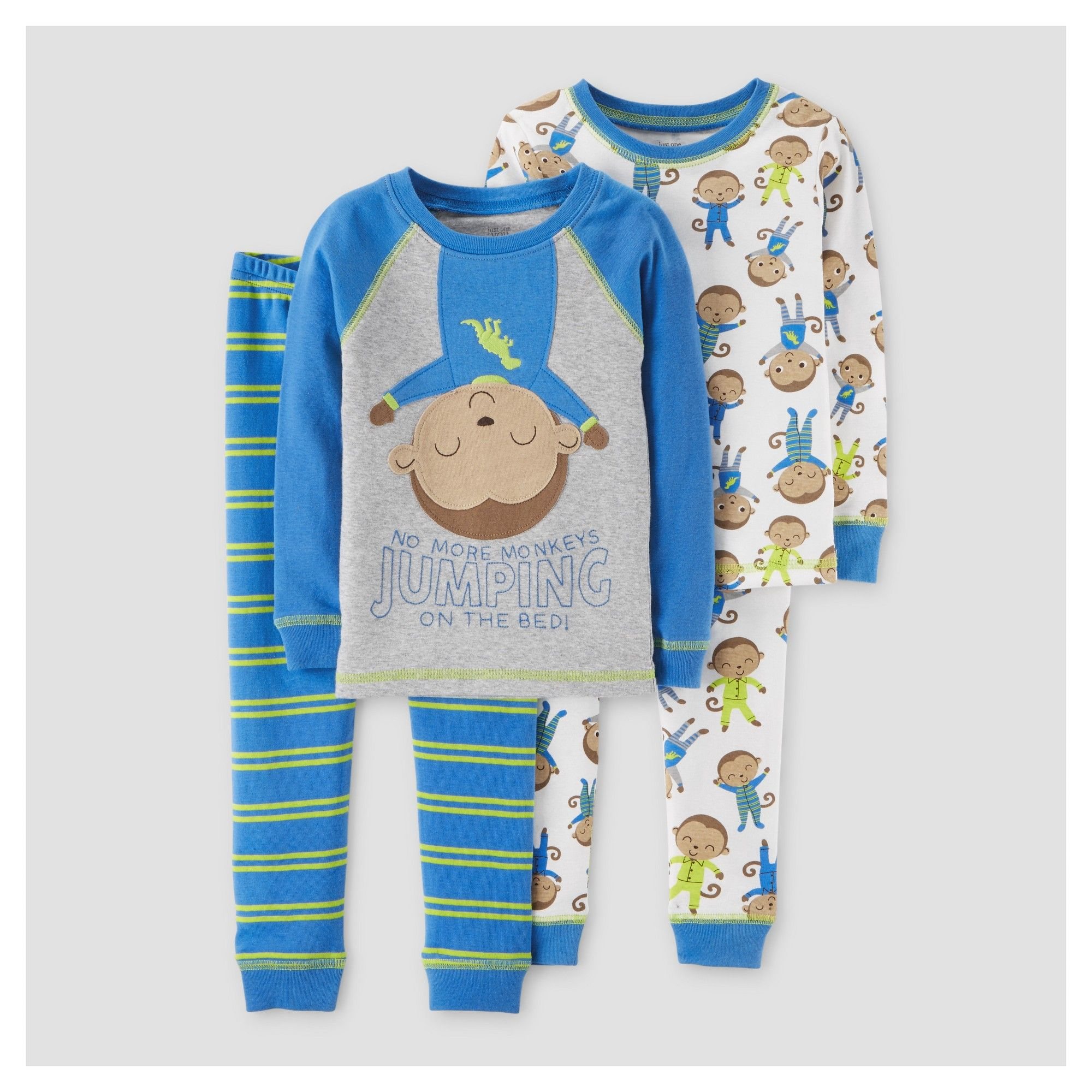 bc44aab4eab0 Baby Boys  4pc Superhero Monkey Long Sleeve Cotton Pajama Set - Just ...