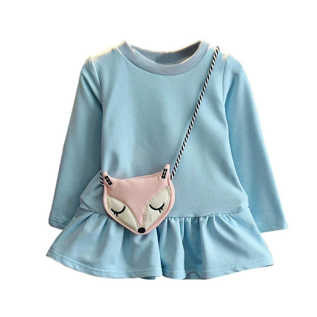 Leegor Kids Baby Girls Outfits Long Sleeve Princess Dress Tops Fox Crossbody Bag 4t Blue Material Cotto Baby Girl Clothes Girl Outfits Blue Ruffle Dress [ 1026 x 1026 Pixel ]