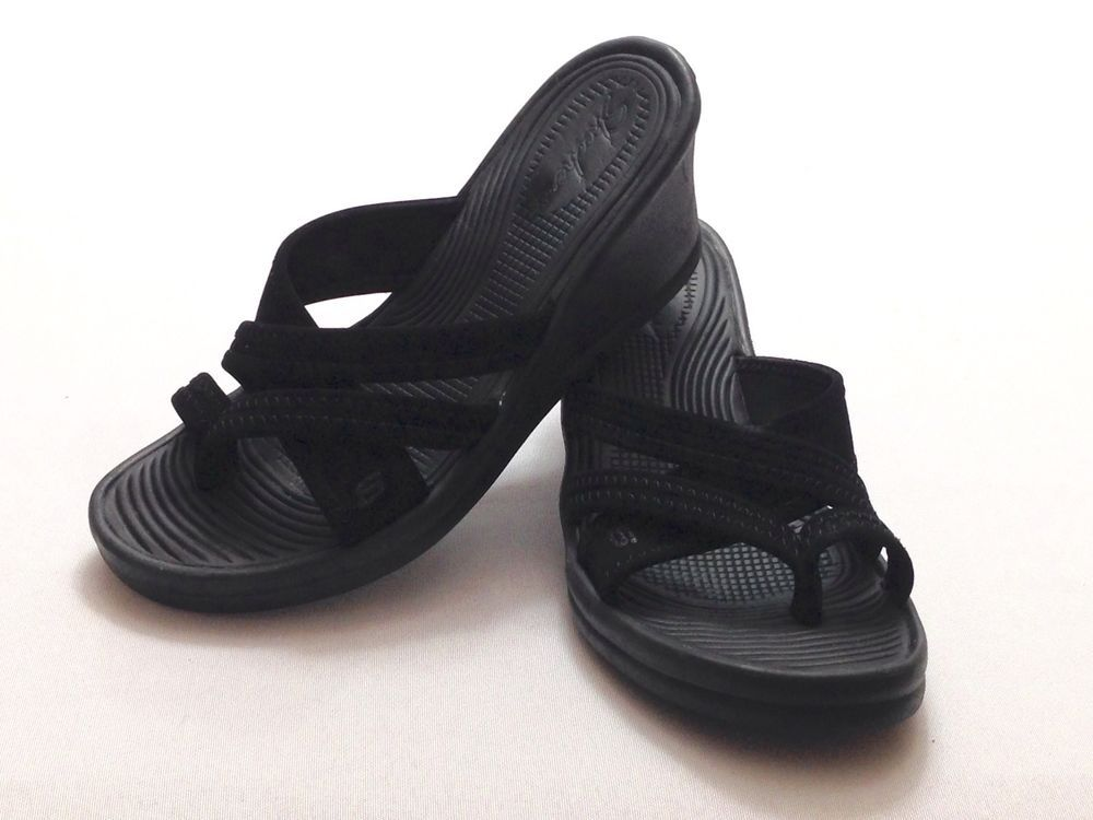 c5a29541ffc2 Skechers Cali Rumblers Wedge Heels Strappy Black Light Weight Size 6   SKECHERS  Wedge  officeorcasual