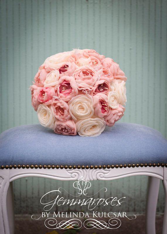 Pale Pink Bouquet - Bridal Fabric Bouquet - Bridal Brooch Bouquet, Wedding Bouquet, Fabric Flower Bouquet, Handmade Bridal Bouquet,