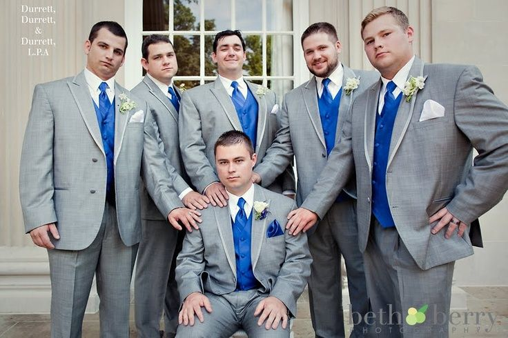 Image result for gray, royal blue wedding suits | Winter wedding ...