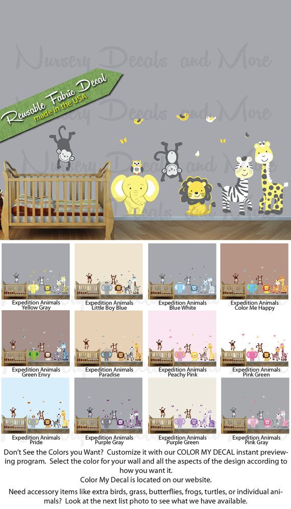 EXA Expedition Paradise animals only Jungle Wall Decals Baby Boy Wall Stickers Decals for Kids Rooms