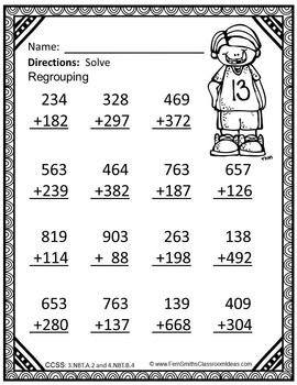 Addition Multi-Digit Whole Numbers Within 1000 - Color ...
