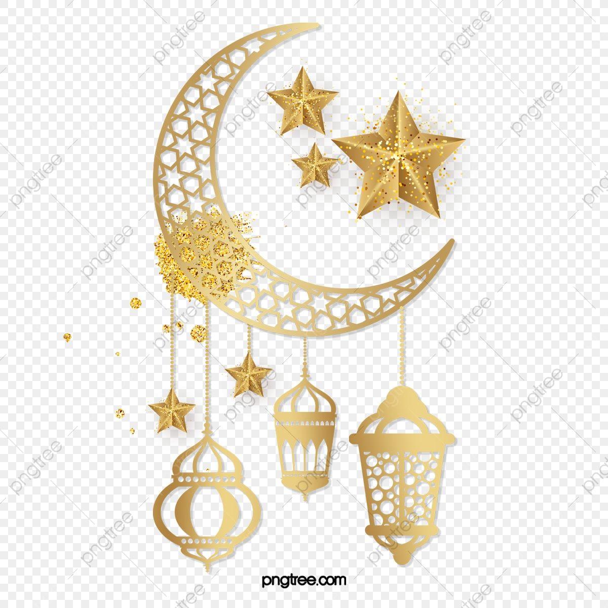 رمضان الفانوس العربي نجوم القمر الذهبي المتلألئ نجمة رمضان القمر Png وملف Psd للتحميل مجانا Ramadan Lantern Ramadan Crafts Ramadan
