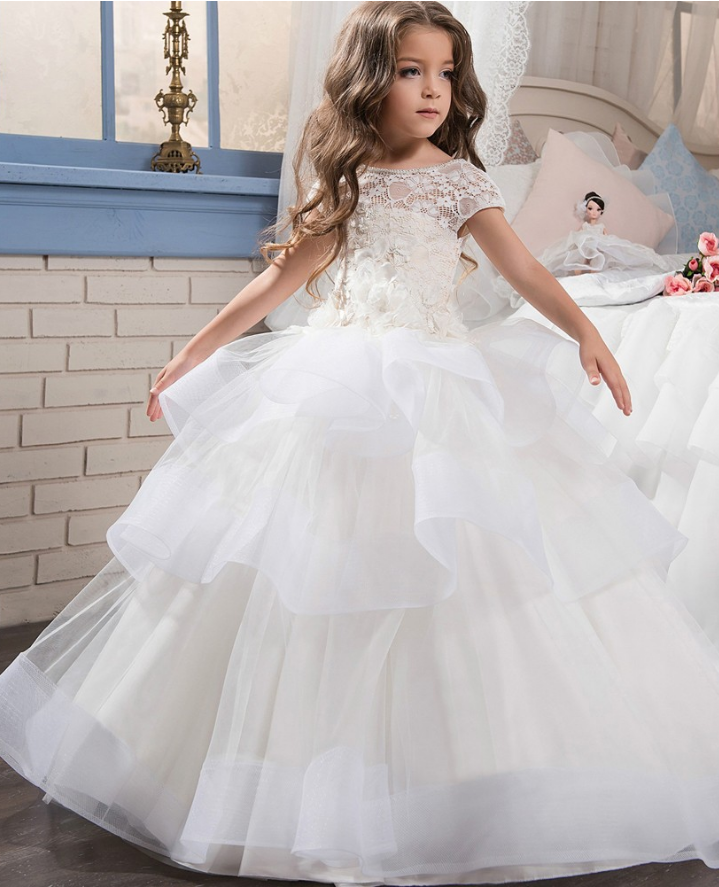 054143872d4d0 Flower Girl Dress, Elegant Custom First Holy White Communion Dresses for  Girls Tiered Puffy Kids Communion Pageant Gown with Short Sleeves