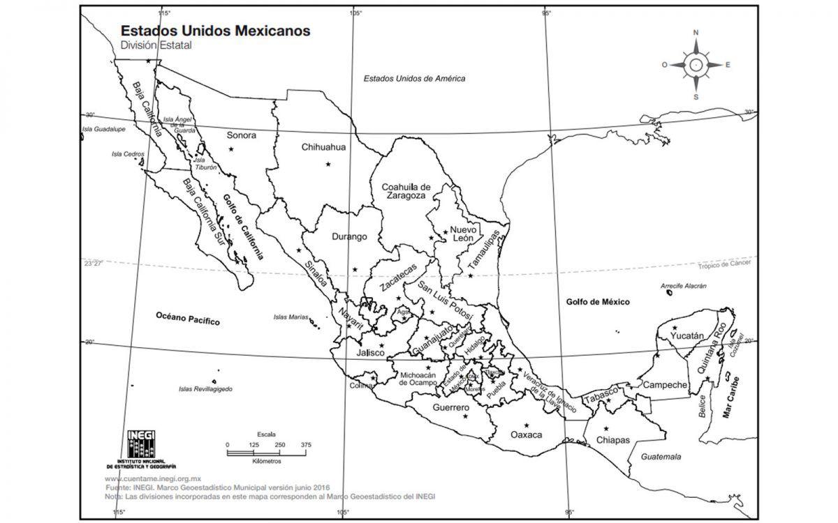 Mapa De Mexico Con Nombres Republica Mexicana Y Division Politica Mexico Desconocido Mapa De Mexico Mapa Mexico Con Nombres Imagenes De Mapas
