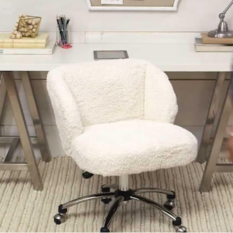 Incredible Ivory Sherpa Faux Fur Wingback Desk Chair In 2019 Machost Co Dining Chair Design Ideas Machostcouk