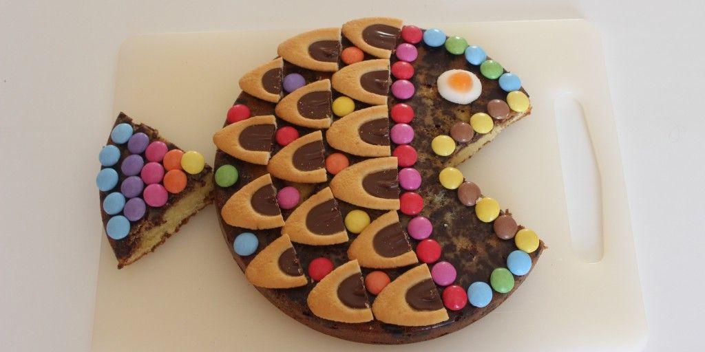 recette pour les enfants gateau anniversaire poisson au chocolat avec bonbons et barquettes. Black Bedroom Furniture Sets. Home Design Ideas