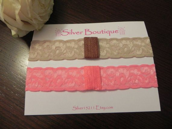 BEIGE & PINK Interchangeable Lace Headbands. Elastic Lace Headbands. Baby headband. Toddler headband. Stretchy headband. Baby photography.