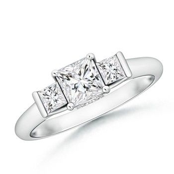 Angara Classic Three Stone Princess Moissanite Ring q4K6Yb0H6