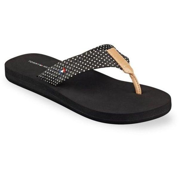 Tommy Hilfiger Black Carliz Mini Dot Flip Flop Women S 20 Liked On Tommy Hilfiger Shoes Flip Flops Tommy Hilfiger