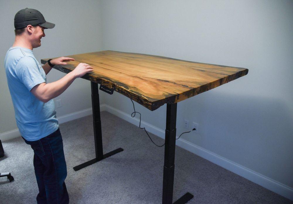 Live Edge Stand Up Desk Stand Up Desk Diy Standing Desk Live