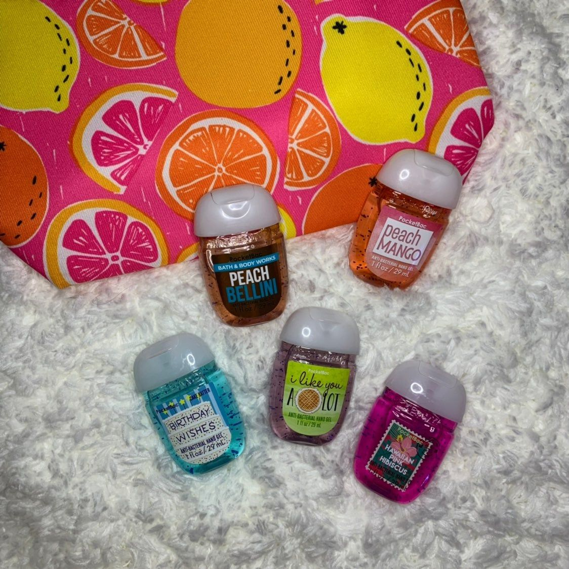 Set Of Five Different Hand Sanitizers From Bath And Body Works
