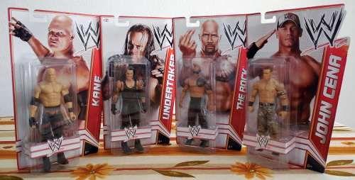 WWE Kane, Undertaker, The Rock y John Cena, Figuras de Acción Básica Figuras de acción articulada De Mattel /WWE Basic Action Figures.