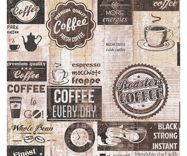 Carta da parati cucina Caffè Vintage black | Carta da parati per ...