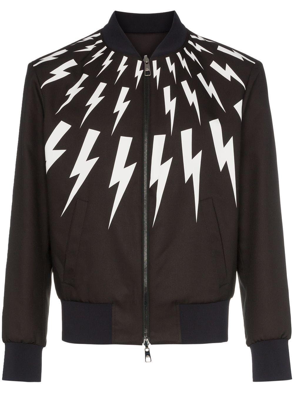 6735fcb40 Neil Barrett lightning bolt print reversible bomber jacket - Black ...