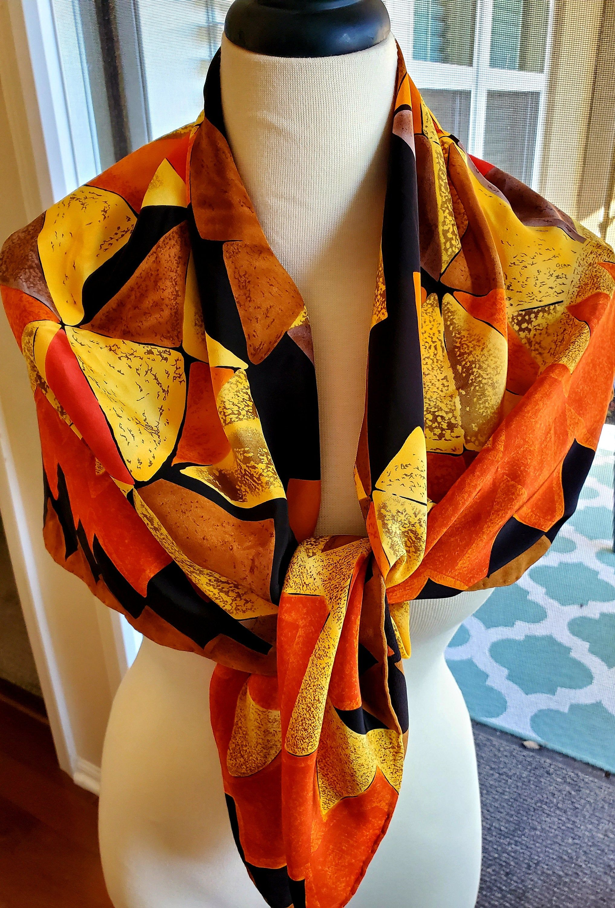 100/% Silk Scarf in Orange and Brown Nautical Print