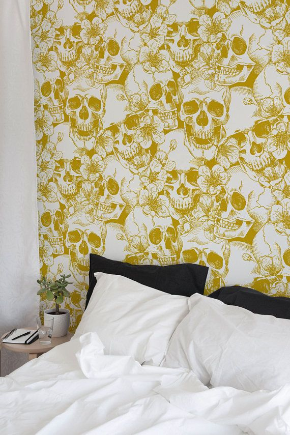 Hibiscus And Skull Wallpaper Removable Wallpaper Wall