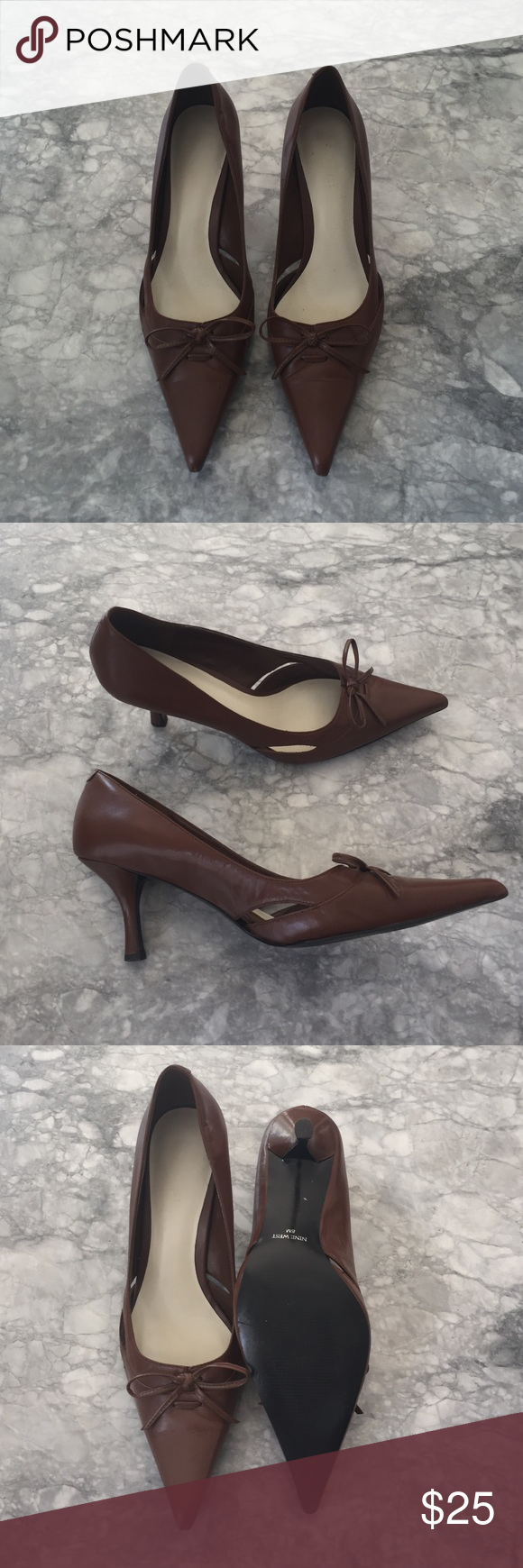 brown Nine West pump brown Nine West pump with bow and cut out detail. gently worn. size 8 with a 2.5 inch heel. super comfortable! Nine West Shoes Heels