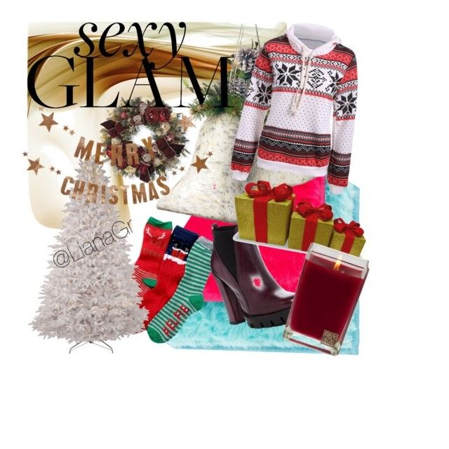 """""""Christmas Glam"""" by lianagrpolyv ❤ liked on Polyvore featuring beauty, Free Press, National Tree Company, Frontgate, Charles David, Aromatique and Bloomingville"""