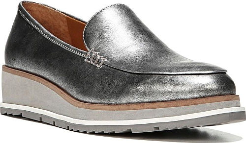 2990bb7f508 SARTO by Franco Sarto Women s Shoes in Silver Leather Color. Kick up the  shine in this gorgeously glossy loafer