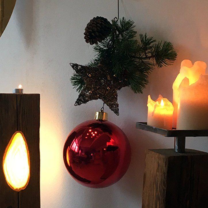 Durchmesser Weihnachtsbaum.Große Weihnachtskugel Christbaumkugel Rot Glänzend 25 Cm Durchmesser