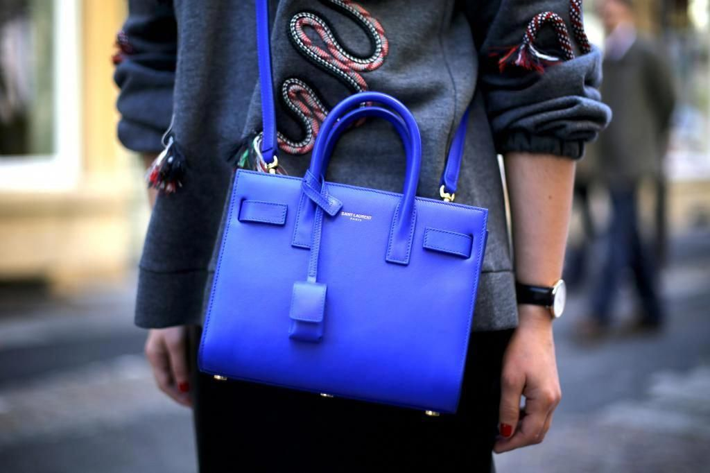 83c9f1aed410 My little fashion diary -- cobalt blue Sac de Jour Saint Laurent bag in  small #Designerhandbags