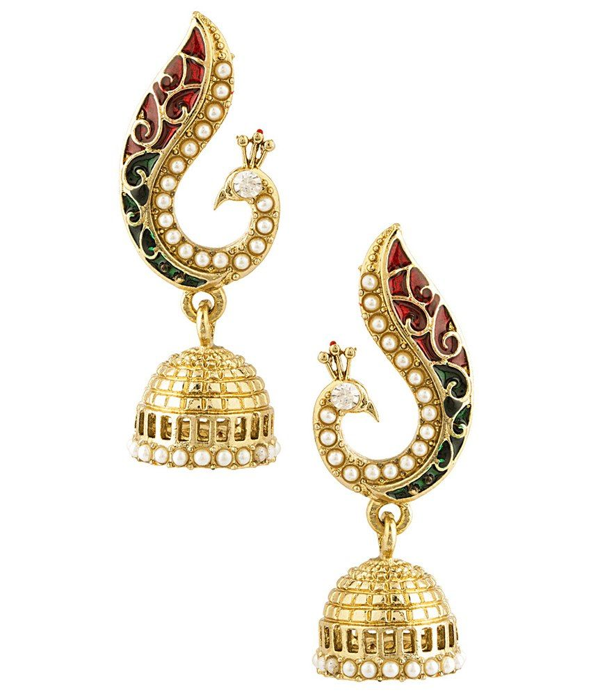 Vintage pearl drop gold earrings bocheron pearl earrings gold - Gold Voylla Alloy Gold Plated Pearl Golden Peacock Inspired Jhumkis Peacock Themeearrings