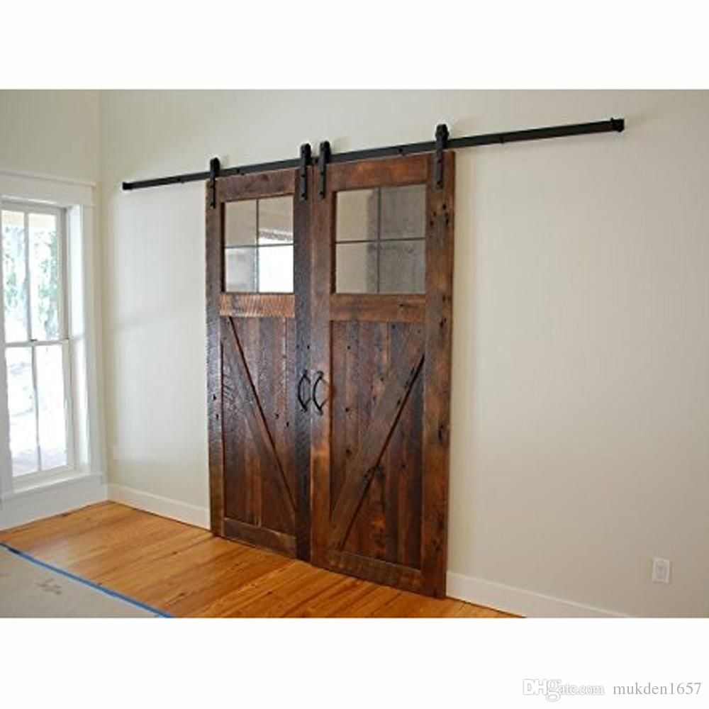 2018 10ft Antique Black Wooden Double Sliding Barn Closet Door Heavy Duty Modern Wood Hardware Interior Rustic Barn Door Barn Doors Sliding Exterior Barn Doors