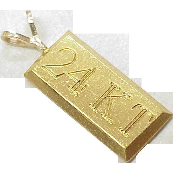 Vintage 24k gold bar charm pendant pendants bar and gold vintage 24k gold bar charm pendant mozeypictures Gallery