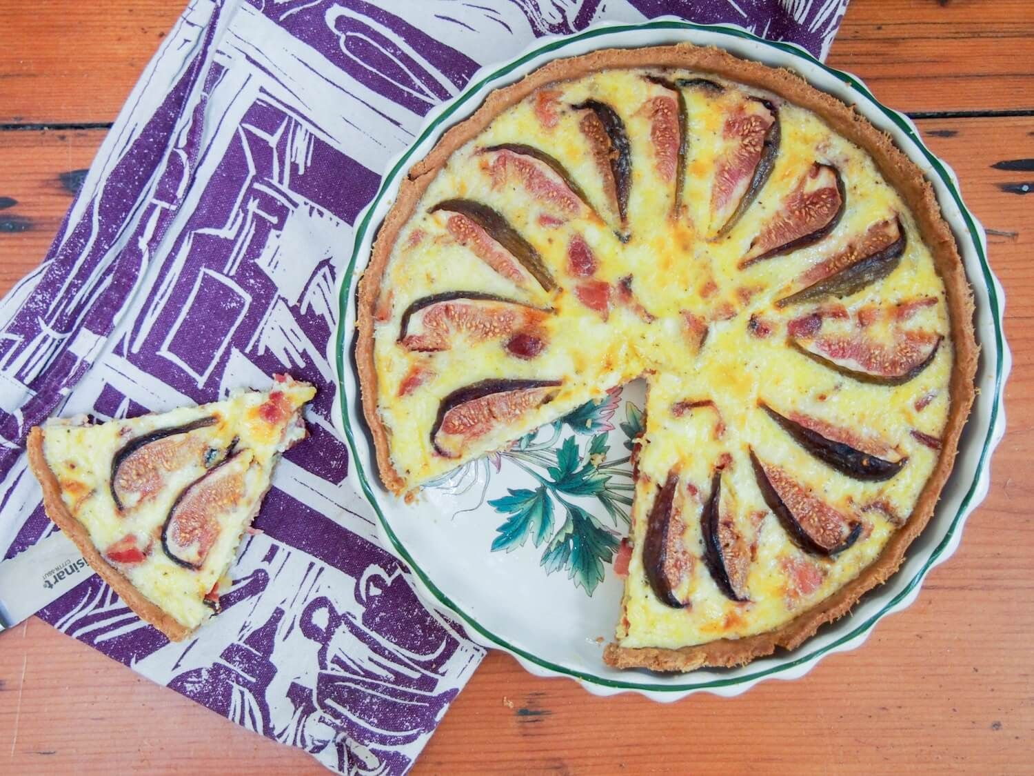 Bacon fig and goats cheese quiche