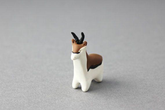 polymer clay gazelle figurine animal miniature gazelle by BeaKez, £10.00