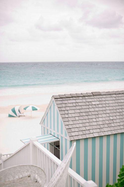 Aqua, beach, house, stripes, umbrella